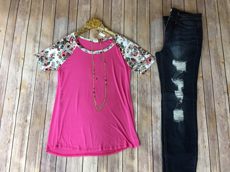 The Kristi top in Fuschia and Teal - Comfy and Chic Boutique