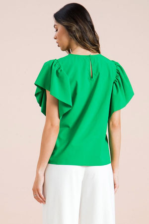 Kelly Green Flared Short Sleeve Top - Comfy and Chic Boutique