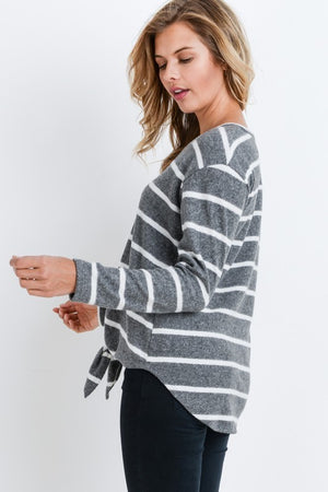 Grey Striped Button Front Tied Top - Comfy and Chic Boutique