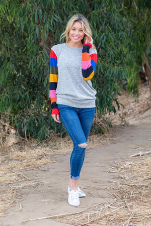 The Striped Sleeve Knit Top - Comfy and Chic Boutique