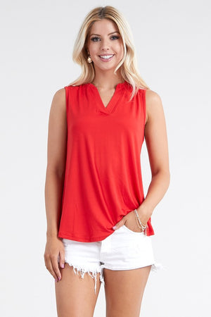 The Red V-Neck Sleeveless Top - Comfy and Chic Boutique