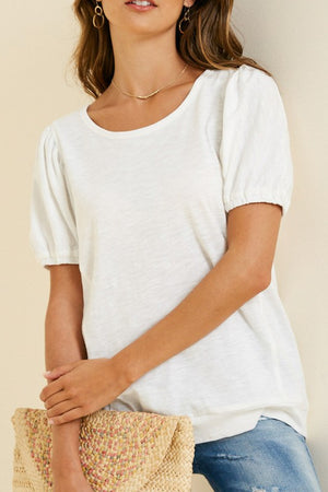 Off-White Solid Round Neck Puff Sleeve Top - Comfy and Chic Boutique