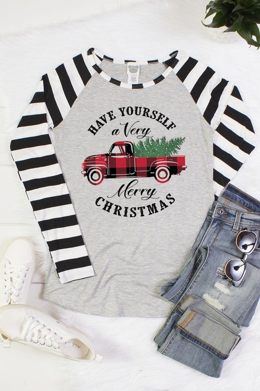 "The Merry Christmas ""Plaid"" Truck Tee with Black stipes"