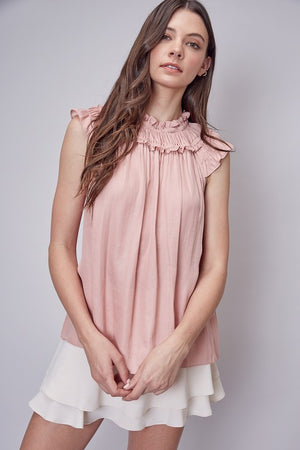 Powdered Rose Sleevless Ruffled Top - Comfy and Chic Boutique