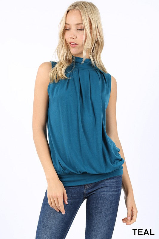 The High Neck Pleated Top - Comfy and Chic Boutique