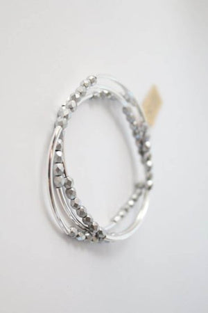 Cecelia Shiny Silver Tripple Wrap Bracelet - Comfy and Chic Boutique