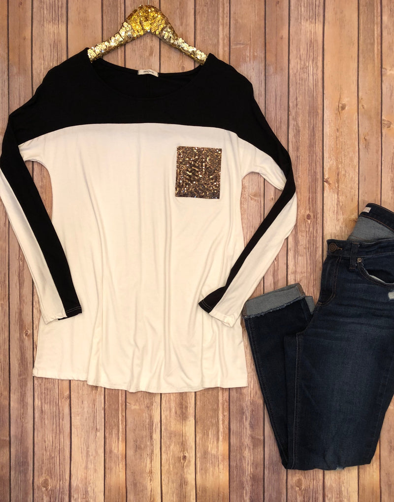 The Sparkle Pocket Tee - Comfy and Chic Boutique