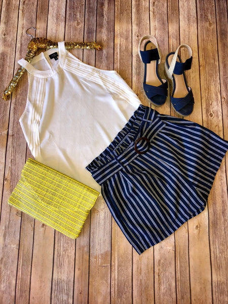 The Navy Striped Linen Shorts - Comfy and Chic Boutique