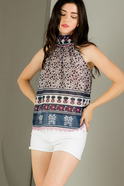 The Printed Halter with Pom Detail - Comfy and Chic Boutique