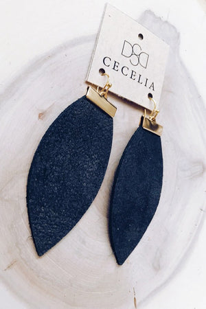 Cecelia Black Sugar Bar Leather Earrings