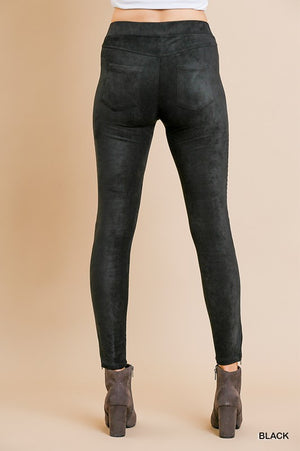 Black Faux Suede Jeggings - Comfy and Chic Boutique