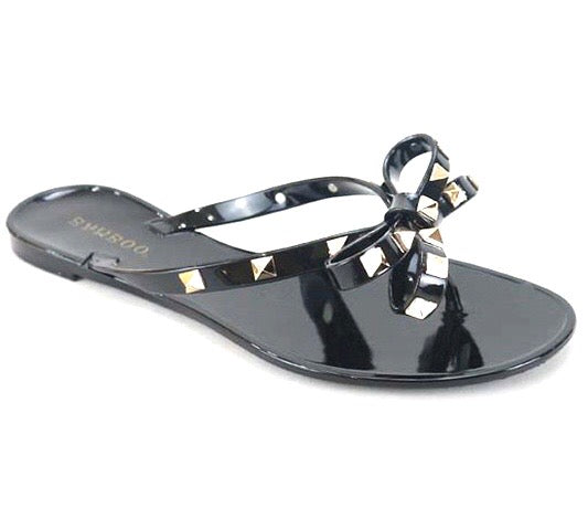 Bow Jelly Thong Sandals- Black - Comfy and Chic Boutique