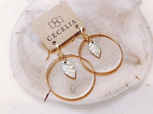 Cecelia Mini Feather Hoop Earring- Braided Champagne - Comfy and Chic Boutique
