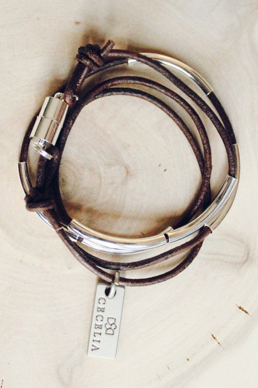 Cecelia Coffee Leather Wrap Bracelet/Necklace