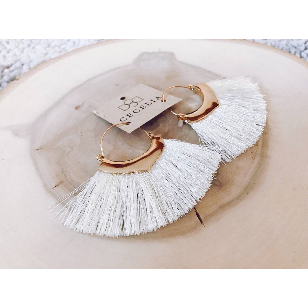 Cecelia Cream Tassel Earrings - Comfy and Chic Boutique