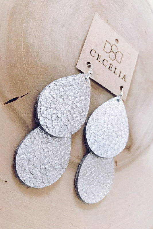 Cecelia Silver Double Waterfall Leather Earrings - Comfy and Chic Boutique