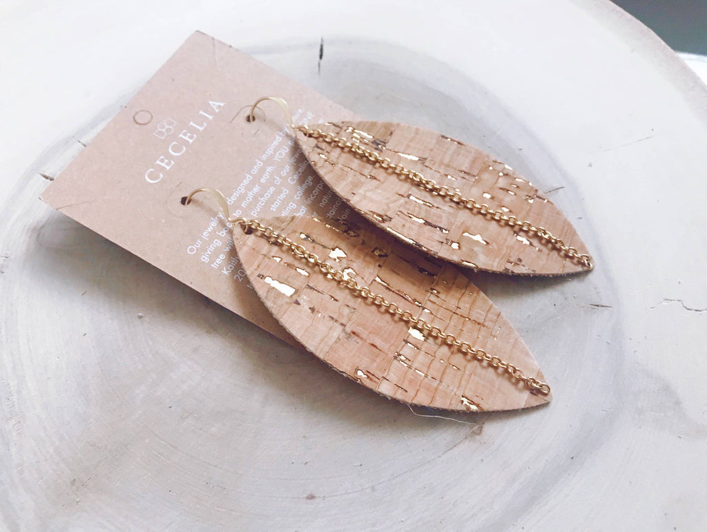 Cecelia Feather with Chain - Cork and Gold - Comfy and Chic Boutique
