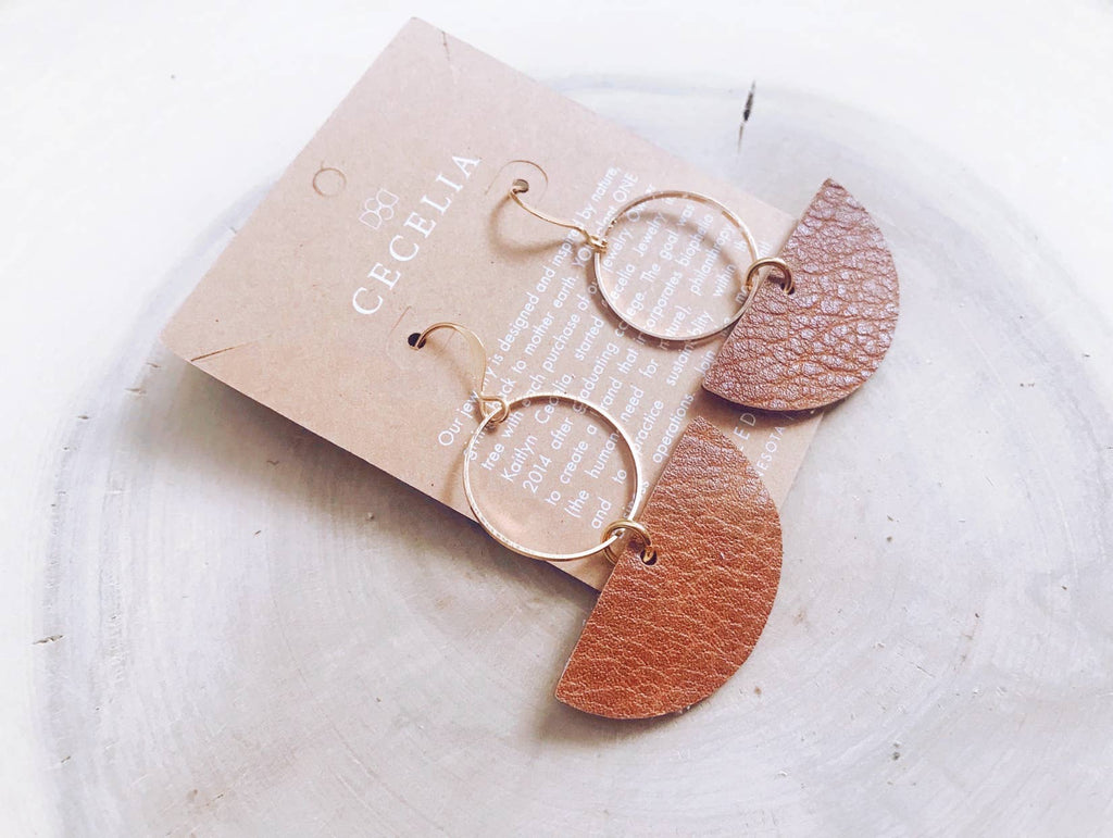 Cecelia Geometric Leather Earrings- Natural Brown - Comfy and Chic Boutique