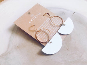 Cecelia Geometric Leather Earrings- White - Comfy and Chic Boutique