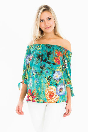 Green Floral Print Off Shoulder Top - Comfy and Chic Boutique