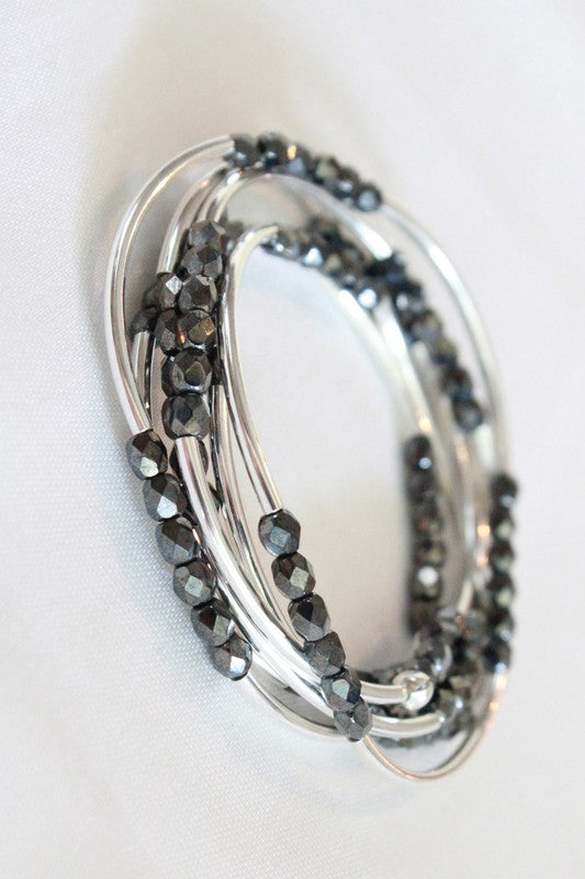 Cecelia Hematite and Silver 6 Wrap Bracelet - Comfy and Chic Boutique