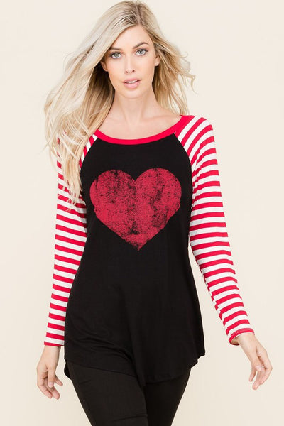 The Heart and Stripes Tee - Comfy and Chic Boutique