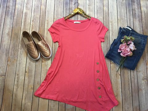 The Perfect Spring top in coral - Comfy and Chic Boutique