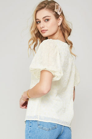 Floral Embroidred Lace Layered Puff-Sleeve Top - Comfy and Chic Boutique