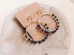 Cecelia Matte Hematite Wire Wrapped Hoop Earrings - Comfy and Chic Boutique