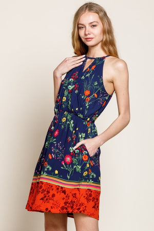 Navy Halter Dress with Border Floral and Front Cutout Pockets - Comfy and Chic Boutique