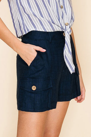 Navy Cargo Shorts with Pockets - Comfy and Chic Boutique