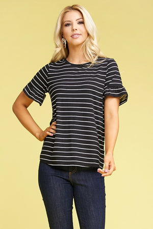 The Black/White Striped Ruffle Sleeve Top - Comfy and Chic Boutique