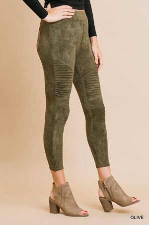 Olive Faux Suede Jeggings - Comfy and Chic Boutique