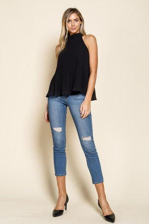 Black Pleated Tie Back Mock Neck Blouse - Comfy and Chic Boutique