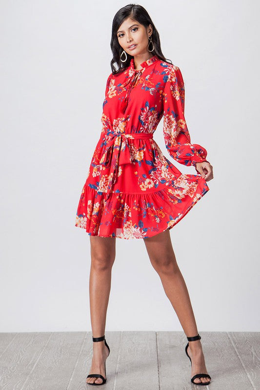 Red Floral Print Dress - Comfy and Chic Boutique