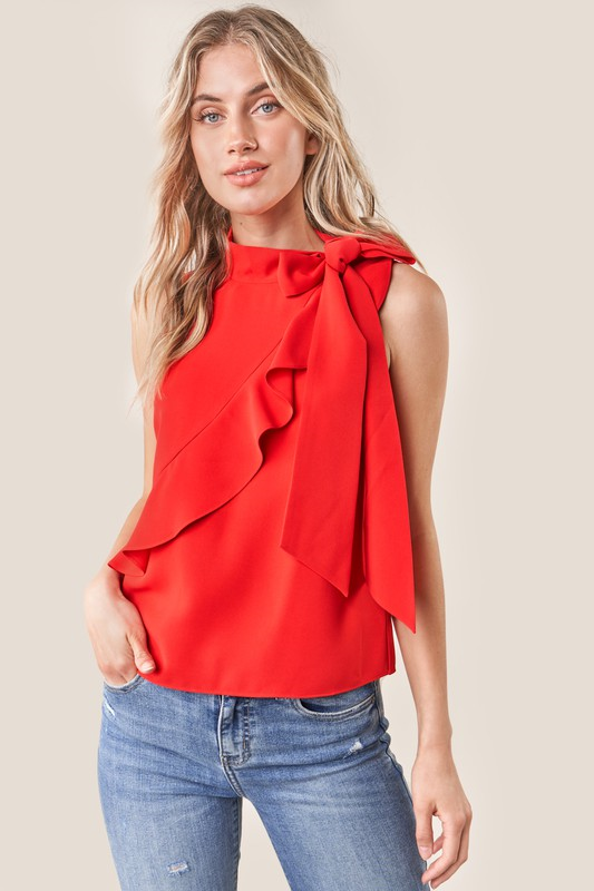 Red Sleeveless Neck Tie Blouse - Comfy and Chic Boutique