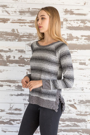 The Dani Knit Ruffled Trim Top - Comfy and Chic Boutique