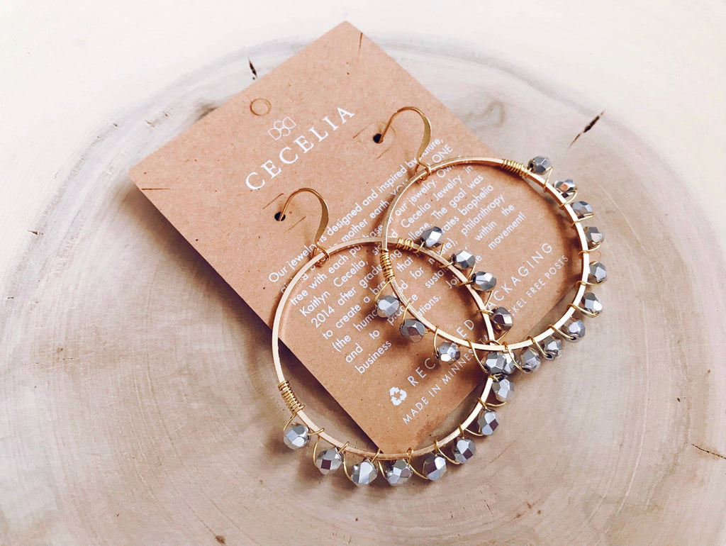 Cecelia Shiny Silver Wire Wrapped Hoop Earrings - Comfy and Chic Boutique
