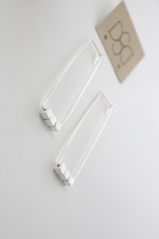 Cecelia Sterling Silver Rectangle Hoop Earrings - Comfy and Chic Boutique