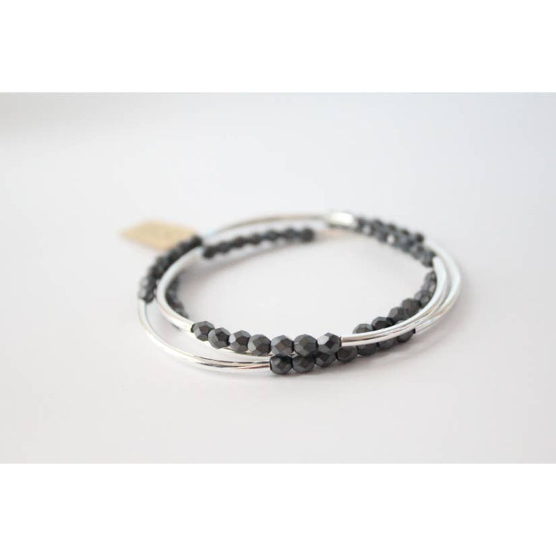 Cecelia Matte Hermatite and Silver Tripple Wrap Bracelet - Comfy and Chic Boutique