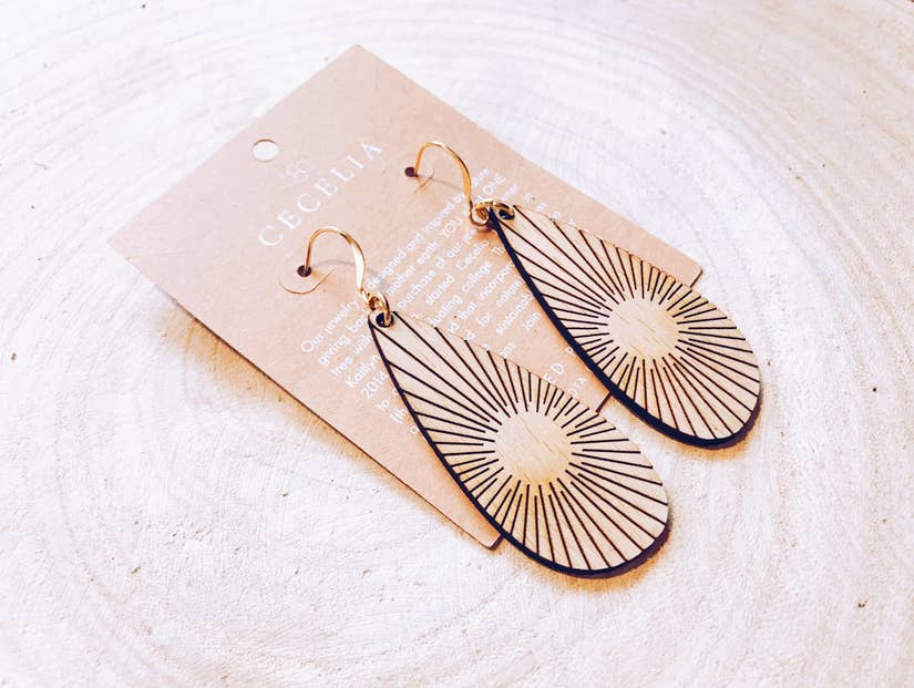 Cecelia Sunline Teardrop Wood Earring - Comfy and Chic Boutique