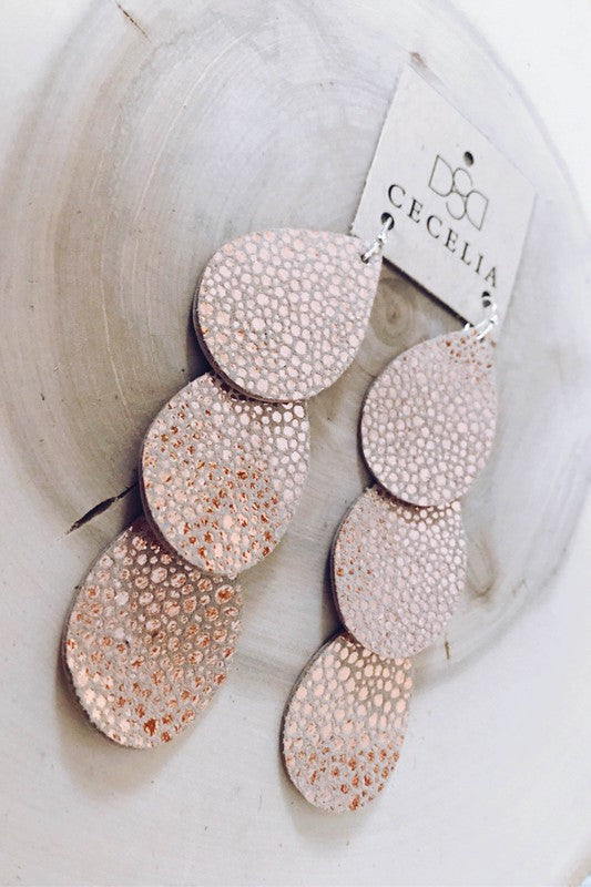 Cecelia  Rose Gold Bubble Triple Waterfall Leather Earrings - Comfy and Chic Boutique