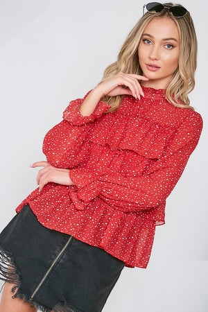 Red Ruffle Top - Comfy and Chic Boutique
