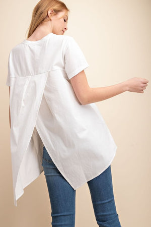 White Cotton & Poplin Surplice Pleated Back Knit Top - Comfy and Chic Boutique