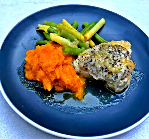 Roast Chicken with Pumpkin Mash, Green Beans and Savoury Jus (LOW FODMAP)