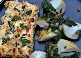 Almond and Herb Crusted Tofu with Crushed Potatoes, Spinach and Capers