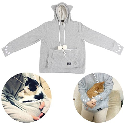 cat carrying hoodie