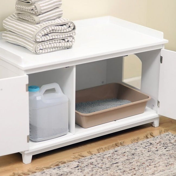 hidden cat litter box bench