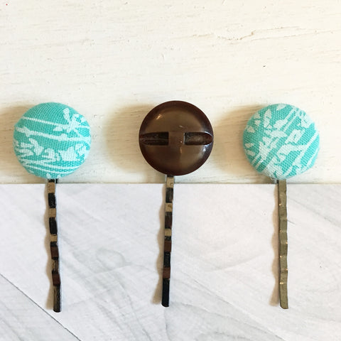 Vintage Button Hair Pins - Aqua Bamboo