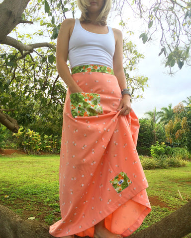 Vintage Mu'umu'u Skirt - Peach Prairie - Medium/Large
